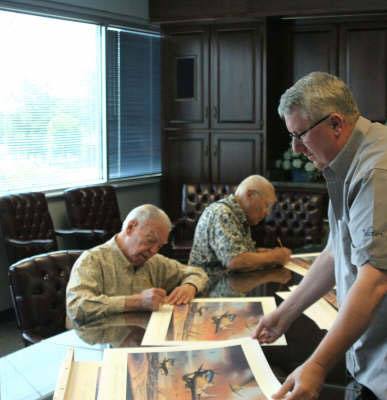 352nd FG pilots signing Nicolas Trudgian's The Battle for New Years Day